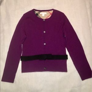 Burberry Girls' Plum Bow Accent Knit Cardigan